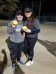 These two young ladies had a homerun in the scrimmage last night in Aledo.